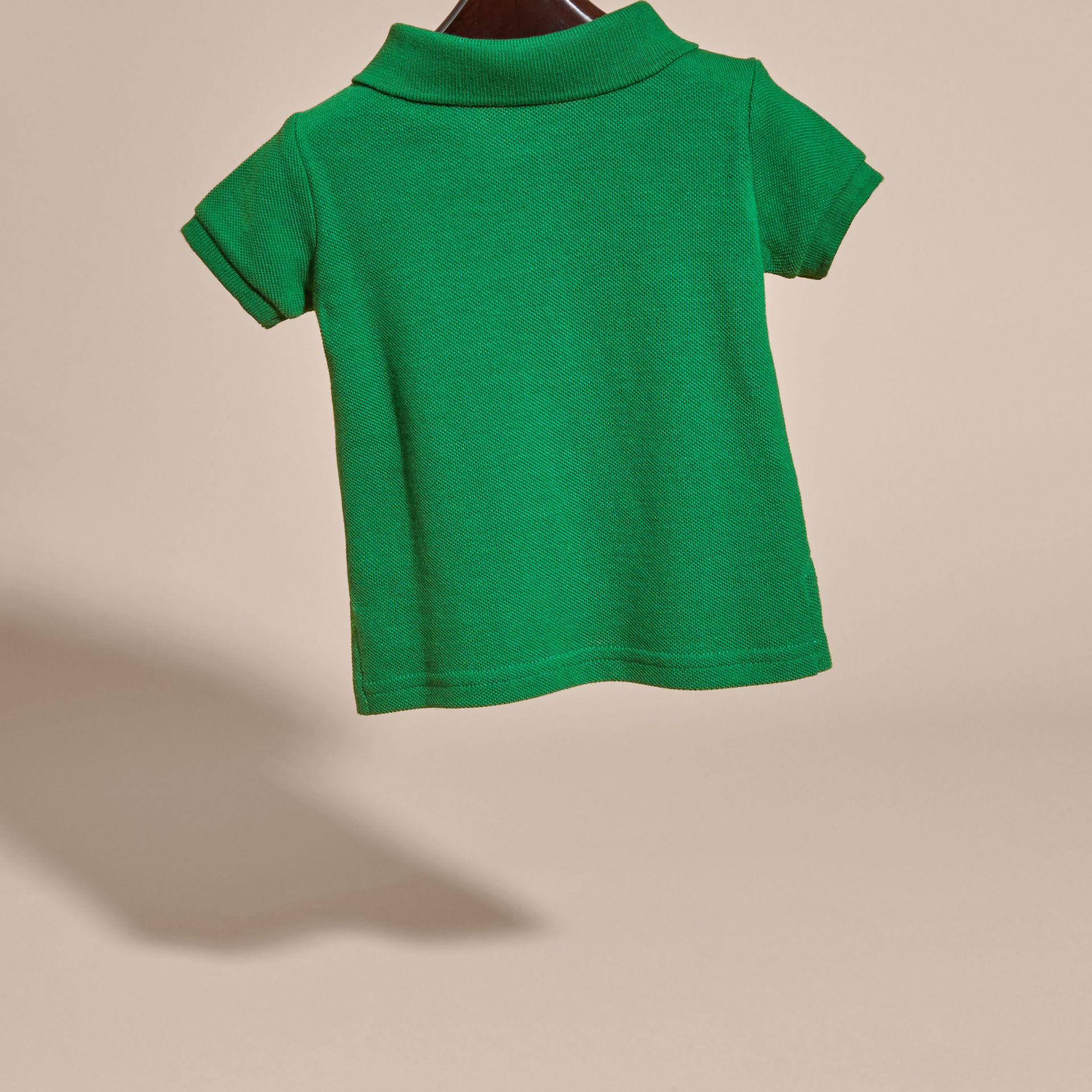 Bright pigment green Cotton Piqué Polo Shirt Bright Pigment Green - gallery image 4