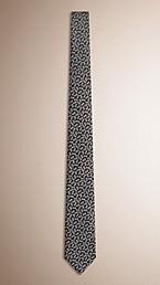 Slim Cut Silk Linen Floral Jacquard Tie