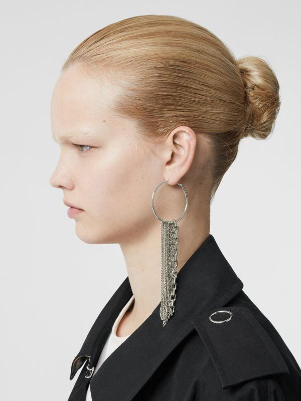 Chain Detail Palladium-plated Hoop Earrings in Palladio - Women | Burberry Singapore - cell image 2