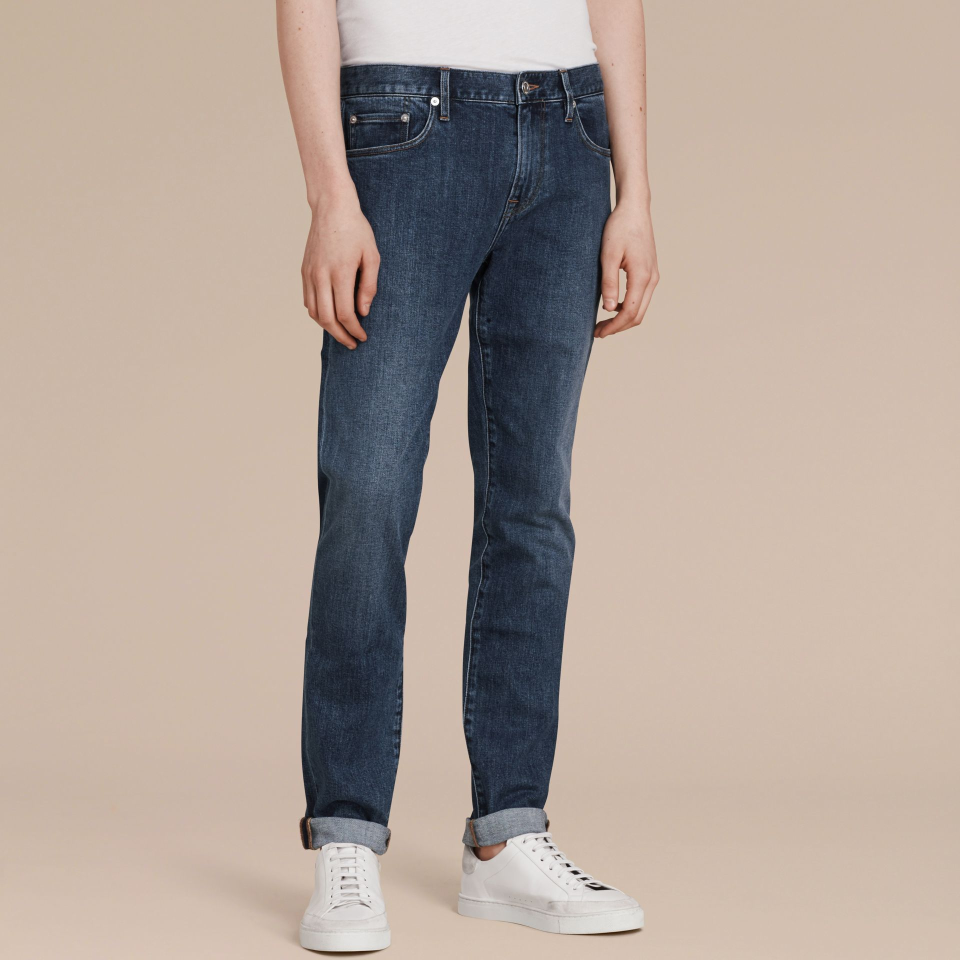 Mid indigo Slim Fit Japanese Denim Jeans - gallery image 4