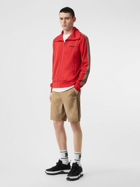 Icon Stripe Detail Cotton Twill Chino Shorts in Honey