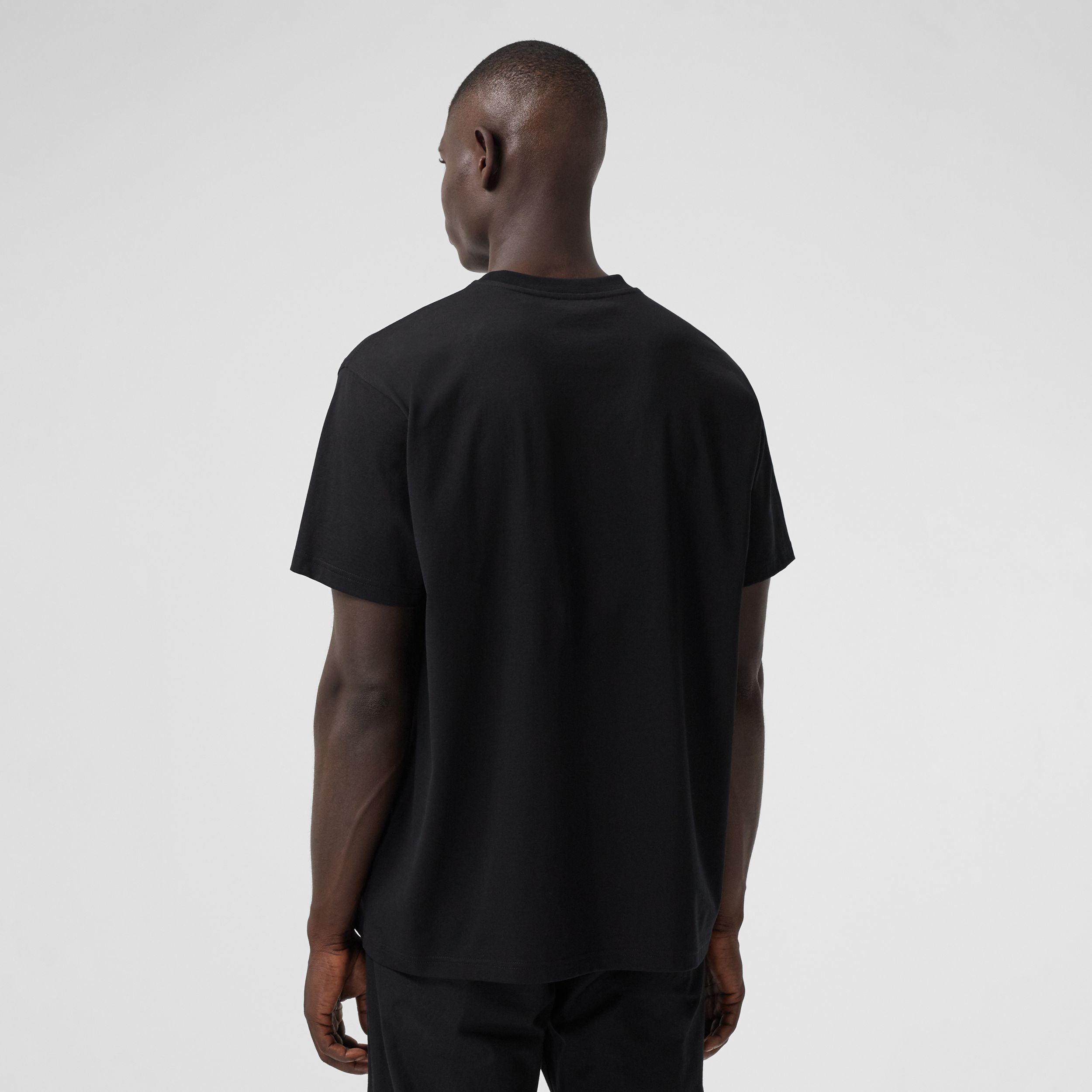Kaleidoscope Print Cotton Oversized T-shirt in Black - Men | Burberry - 3