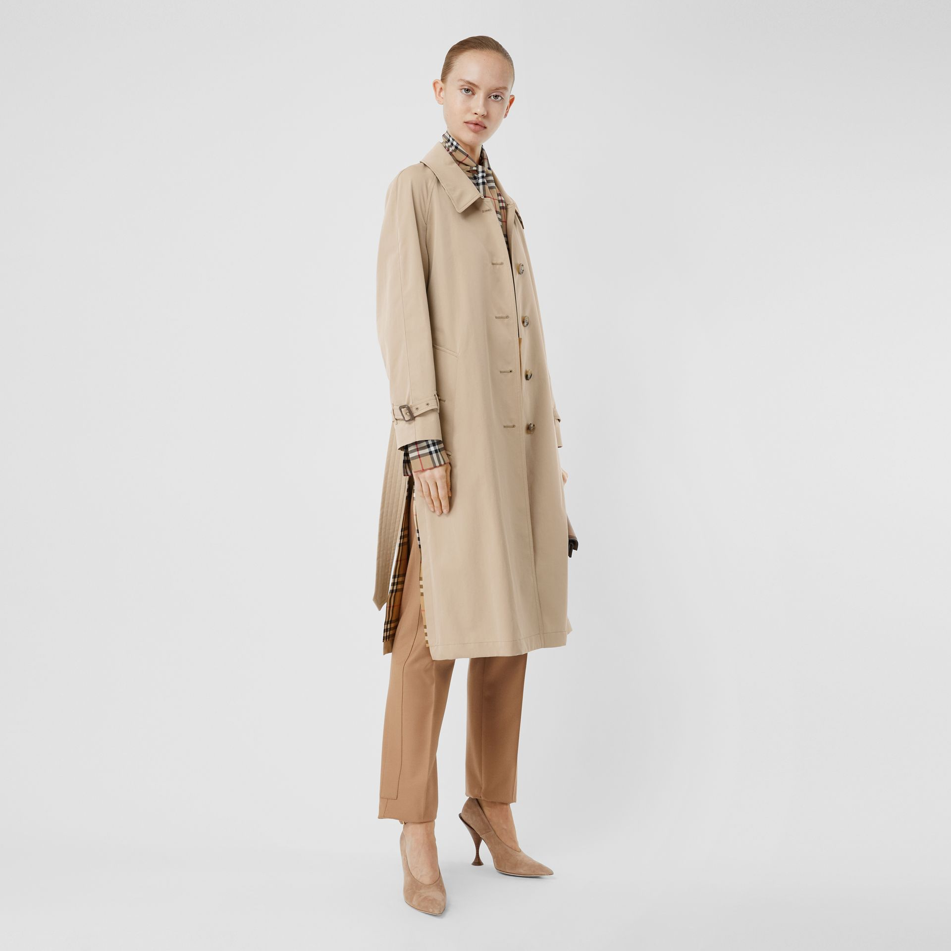 Side-slit Tropical Gabardine Trench Coat in Light Taupe - Women | Burberry United Kingdom - gallery image 0