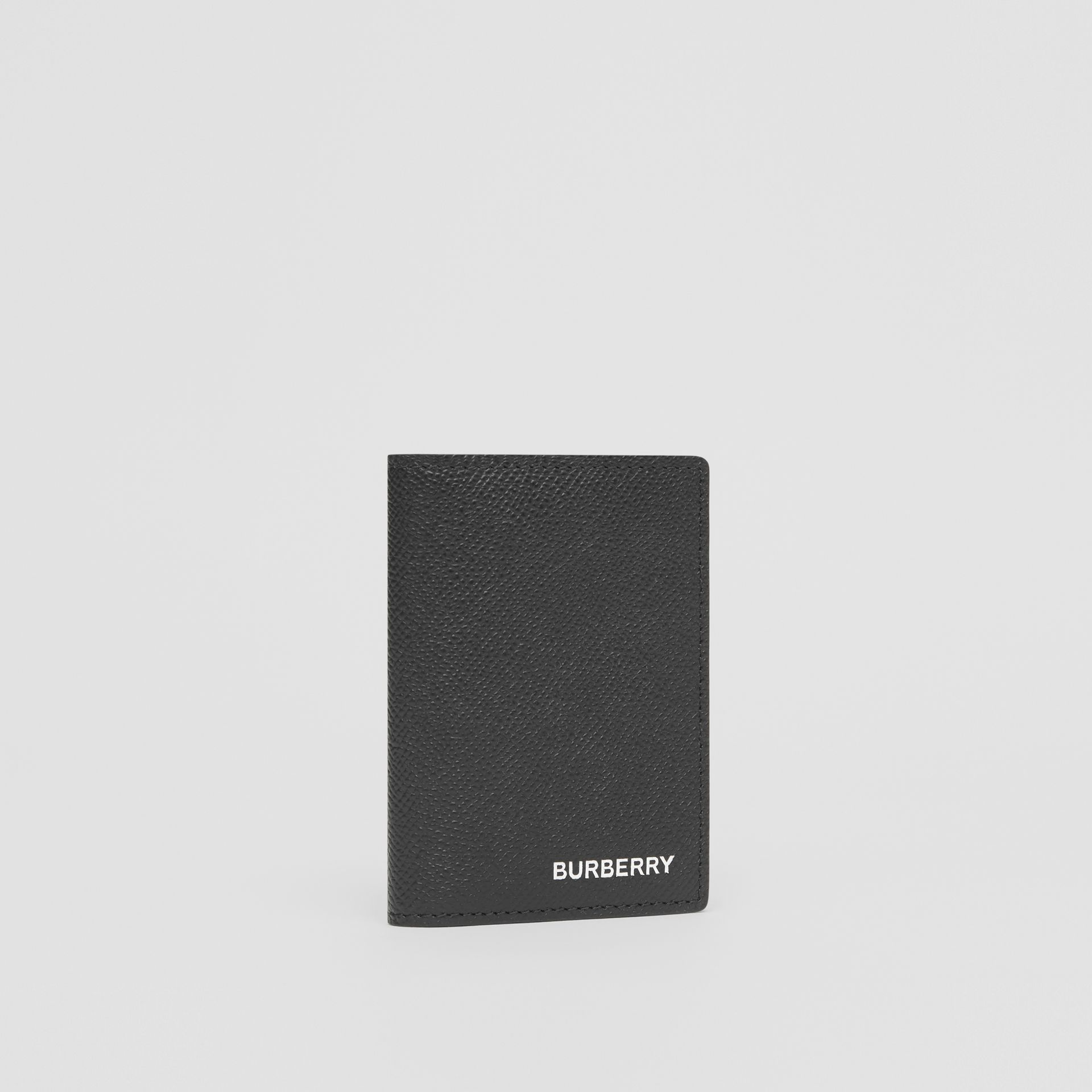 Grainy Leather Folding Card Case in Black - Men | Burberry - gallery image 3