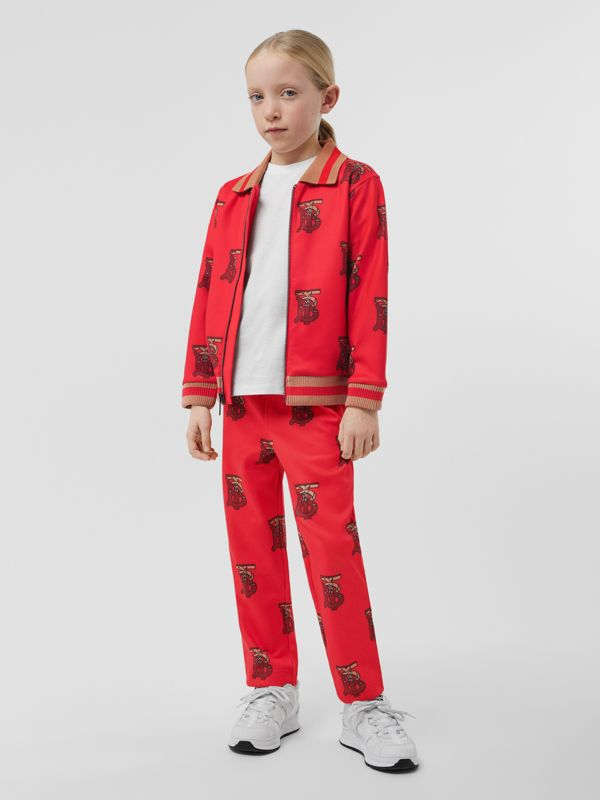 Monogram Motif Neoprene Track Top in Bright Red | Burberry Singapore - cell image 2