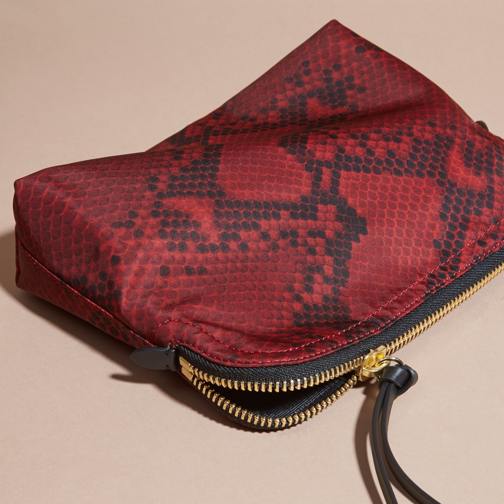 Burgundy red Large Zip-top Python-print Technical Nylon Pouch Burgundy Red - gallery image 3