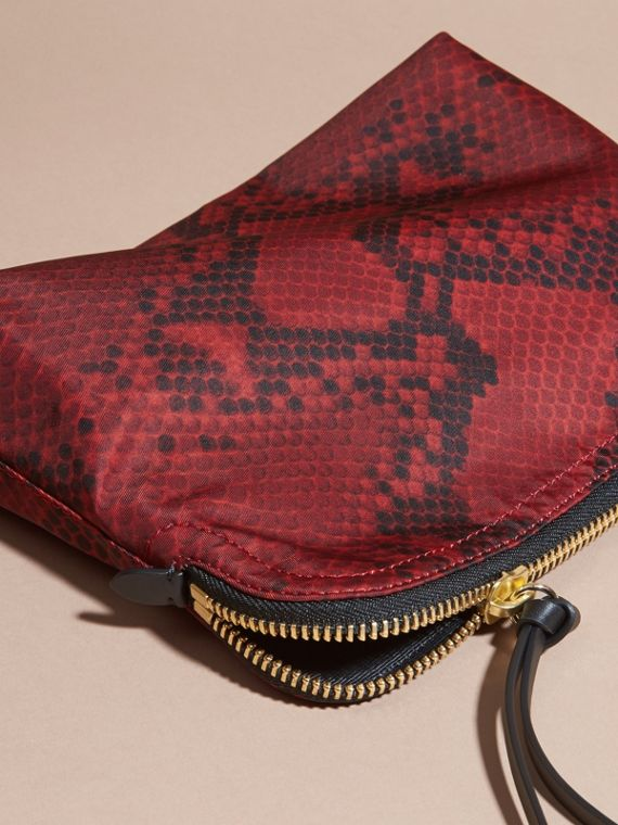 Burgundy red Large Zip-top Python-print Technical Nylon Pouch Burgundy Red - cell image 2