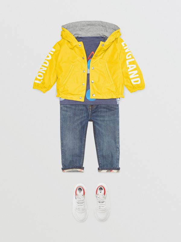 Reversible Logo Print Hooded Jacket in Bright Yellow - Children | Burberry - cell image 2