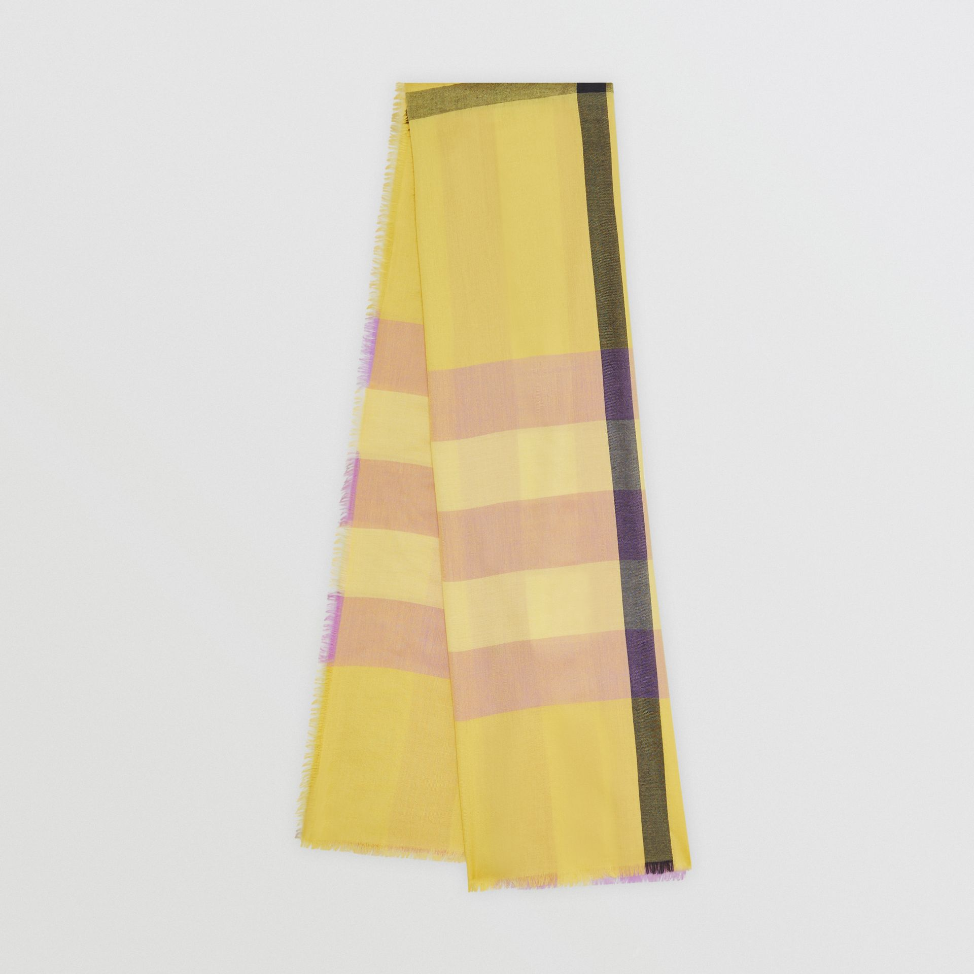 Lightweight Check Cashmere Scarf in Dusty Citrine | Burberry - gallery image 0