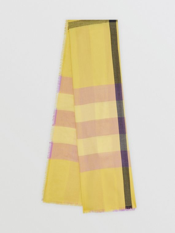 Fringed Check Cashmere Scarf in Dusty Citrine