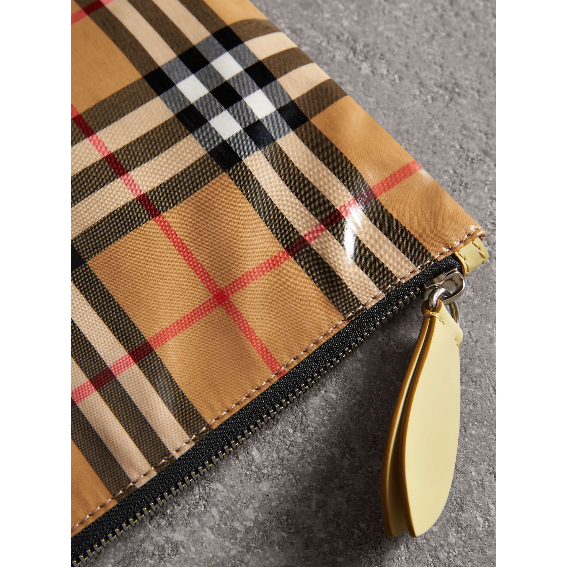 Medium Coated Vintage Check Pouch in Pale Yellow | Burberry Hong Kong - gallery image 1