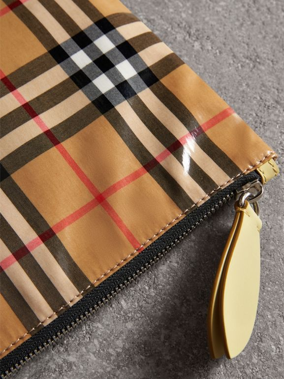 Medium Coated Vintage Check Pouch in Pale Yellow | Burberry - cell image 1