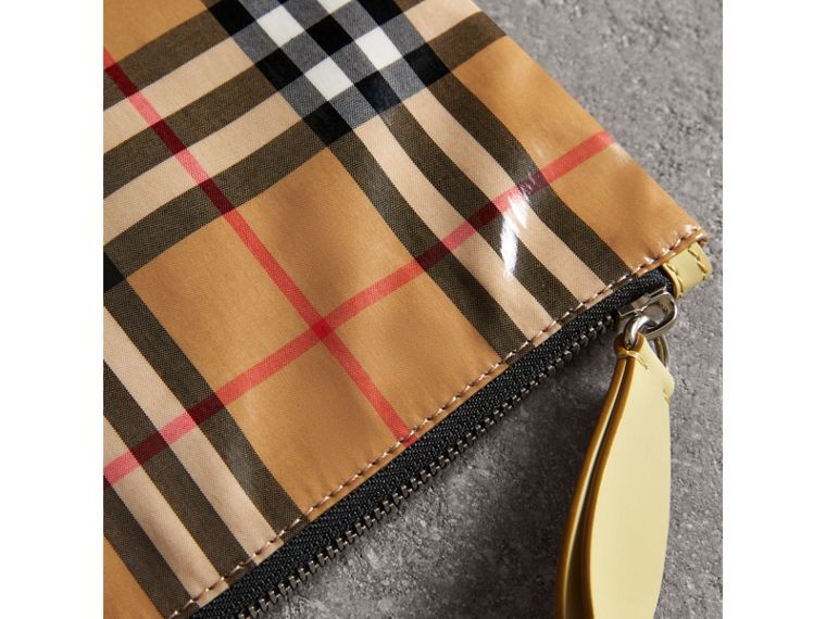 Medium Coated Vintage Check Pouch in Pale Yellow | Burberry Hong Kong - cell image 1