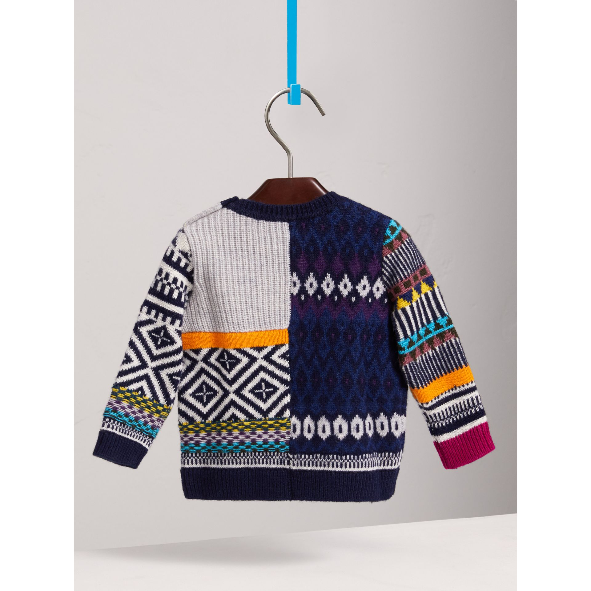 Fair Isle Wool Cashmere Patchwork Sweater in Navy | Burberry - gallery image 3