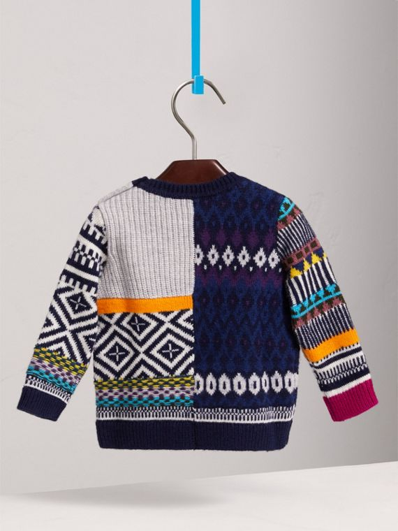 Fair Isle Wool Cashmere Patchwork Sweater in Navy | Burberry - cell image 3