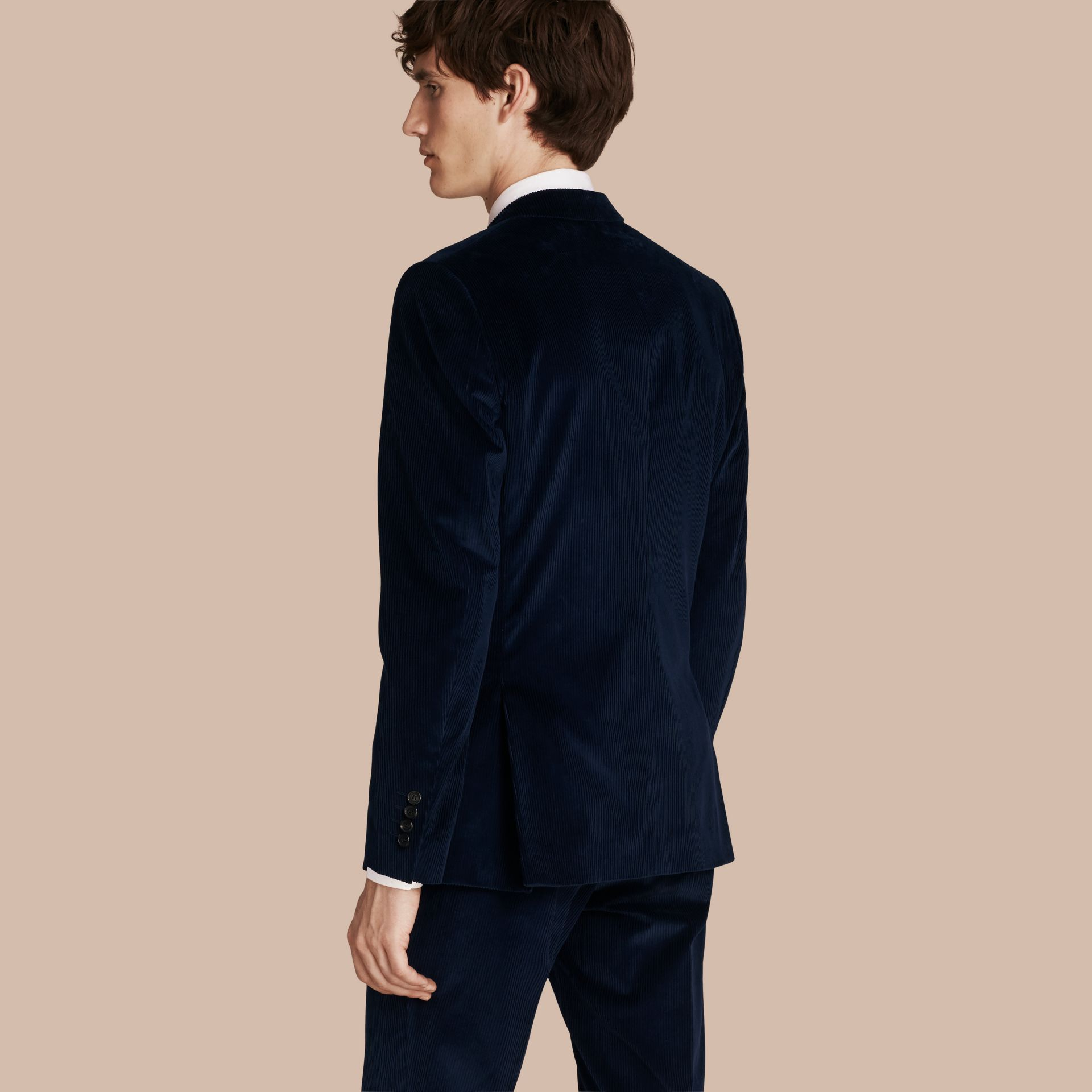 Navy Slim Fit Cotton Corduroy Jacket Navy - gallery image 3