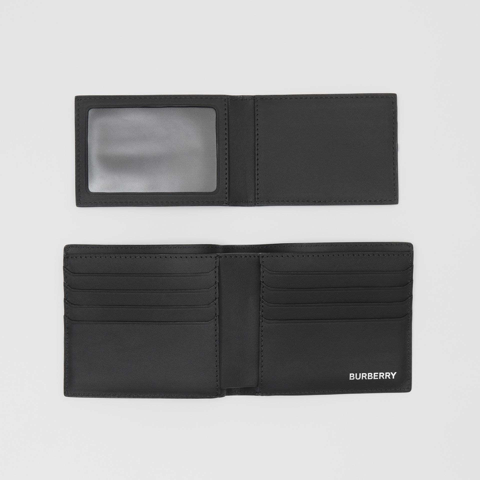 London Check Bifold Wallet with ID Card Case in Dark Charcoal - Men | Burberry - gallery image 5