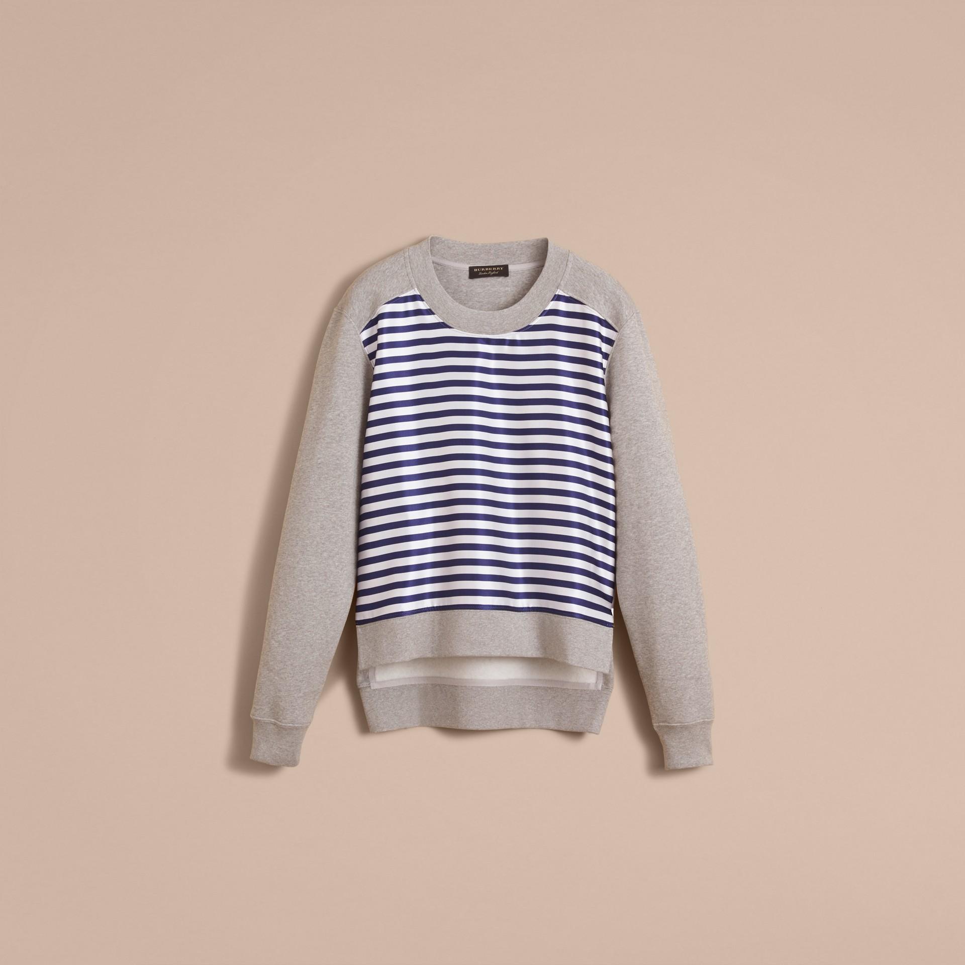 Unisex-Sweatshirt mit Streifenpanel aus Baumwollseide (Grau Meliert) - Herren | Burberry - Galerie-Bild 4