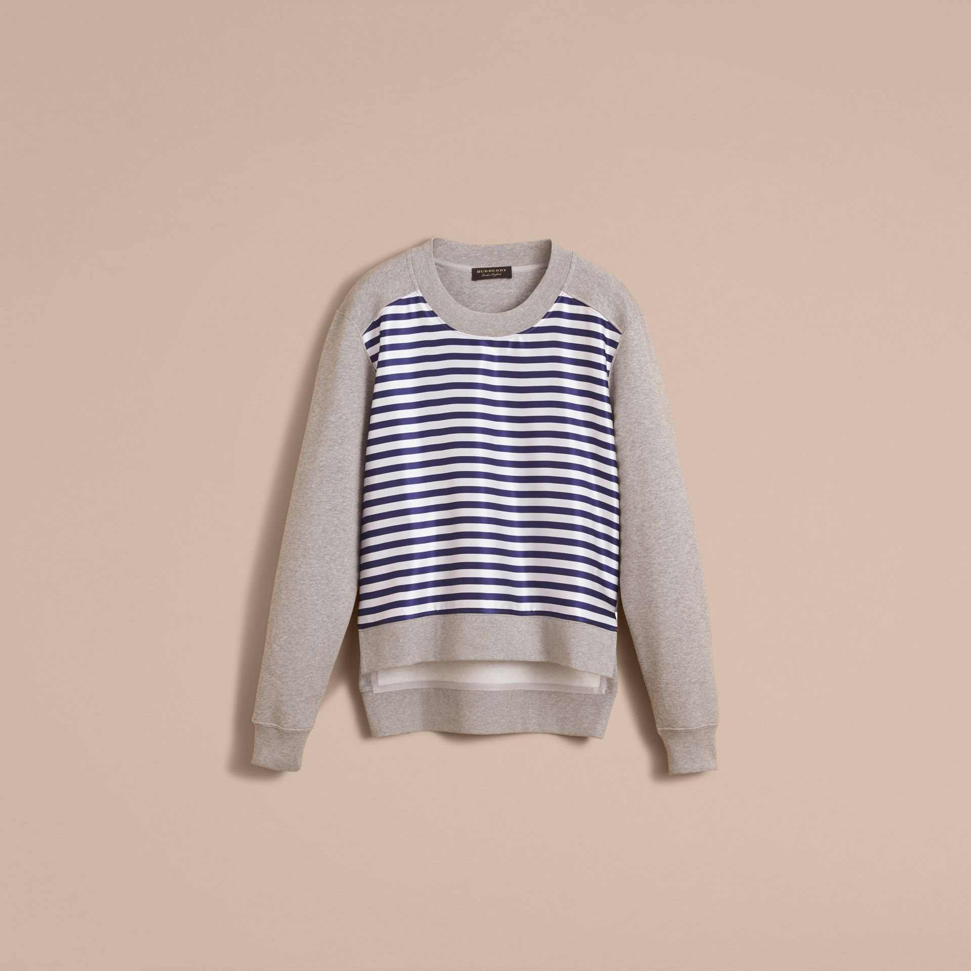 Unisex Striped Silk Cotton Panel Sweatshirt in Grey Melange - Men | Burberry - gallery image 4