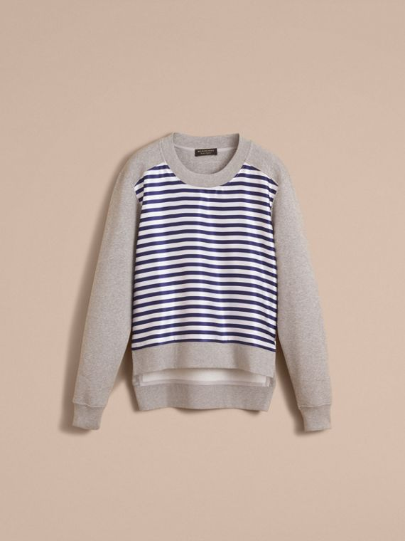Unisex Striped Silk Cotton Panel Sweatshirt - Men | Burberry - cell image 3