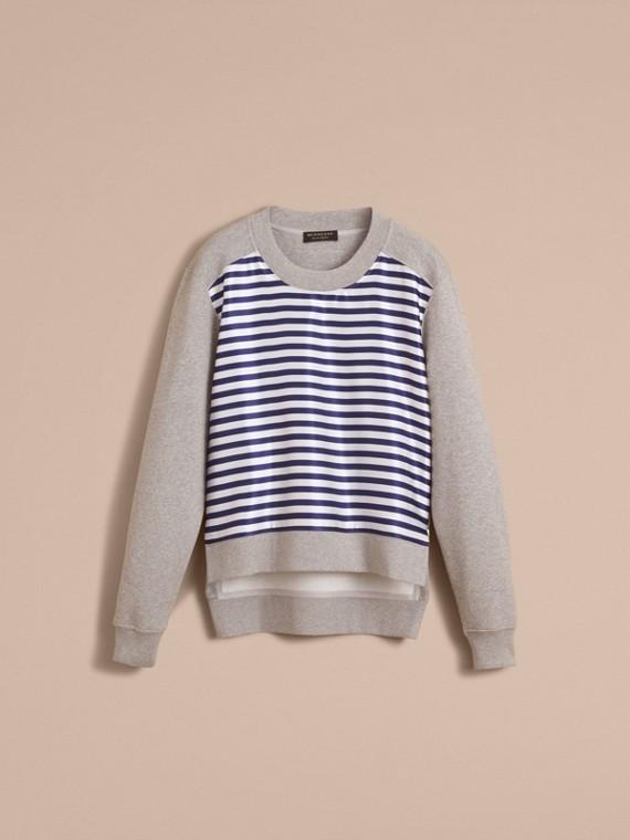 Unisex Striped Silk Cotton Panel Sweatshirt in Grey Melange - Men | Burberry - cell image 3