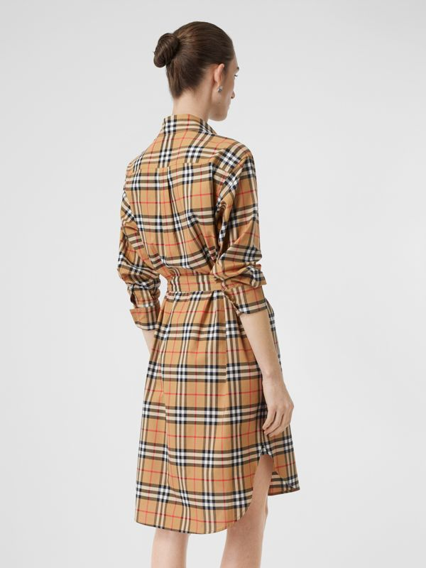 Vintage Check Cotton Tie-waist Shirt Dress in Antique Yellow - Women | Burberry United Kingdom - cell image 2