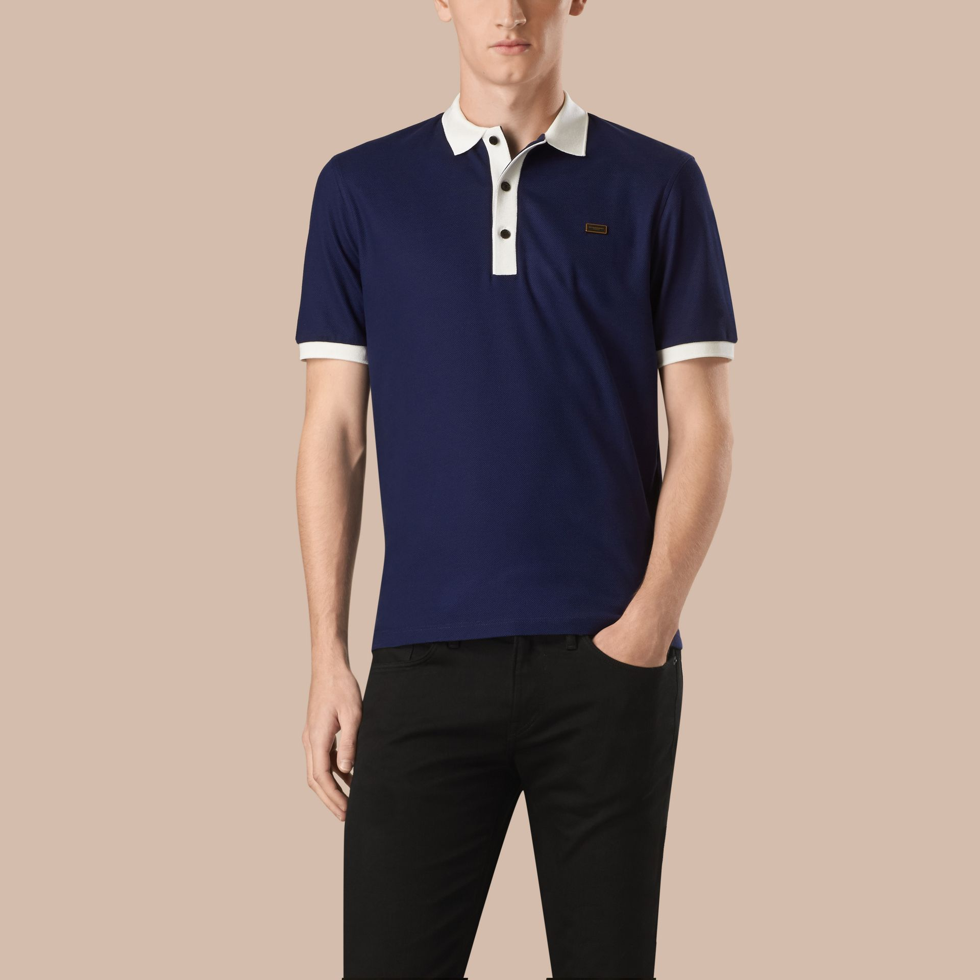 Navy blue/white Mercerised Cotton Piqué Polo Shirt Navy Blue/white - gallery image 1