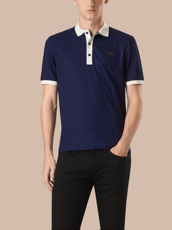 Mercerised Cotton Piqué Polo Shirt Navy Blue/white