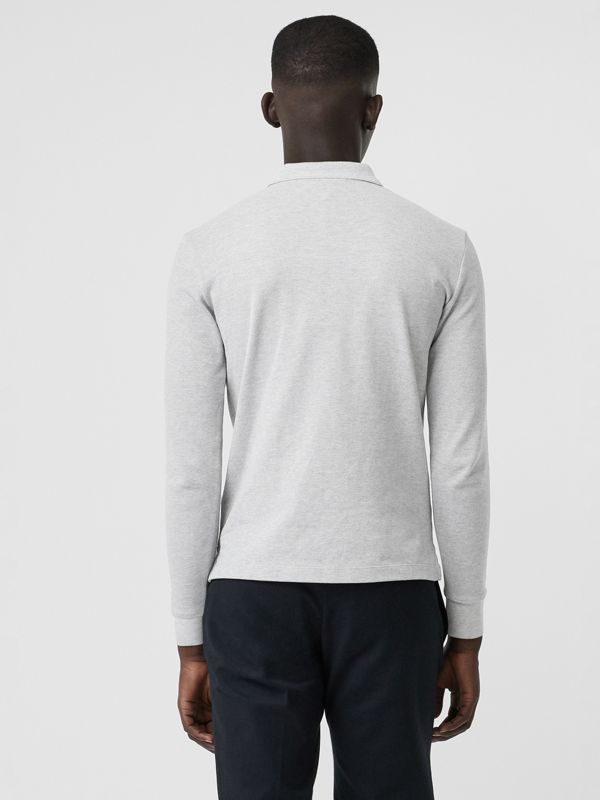 Long-sleeve Cotton Piqué Polo Shirt in Pale Grey Melange - Men | Burberry United Kingdom - cell image 2