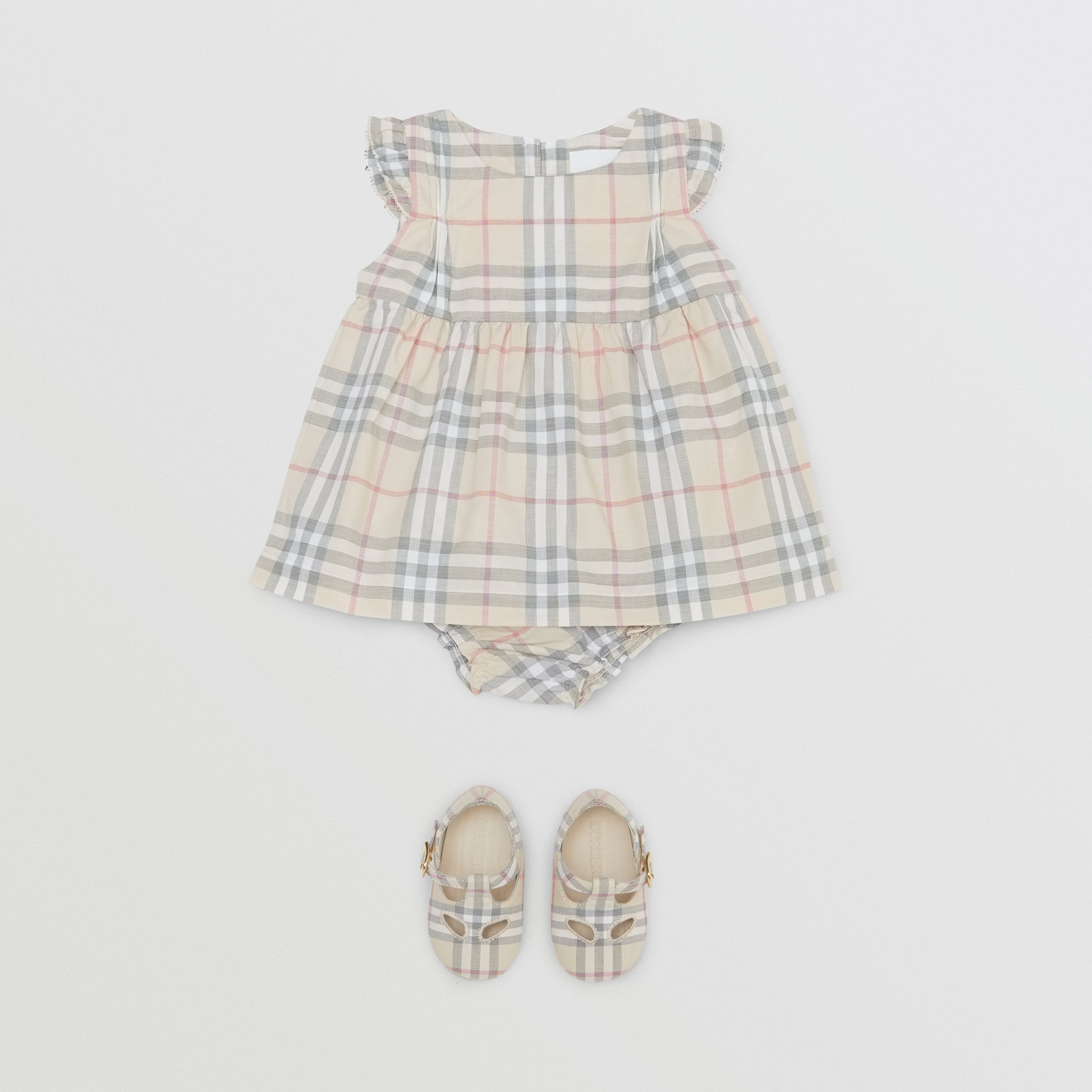 Ruffled Check Cotton Dress with Bloomers in Pale Stone - Children | Burberry - 3