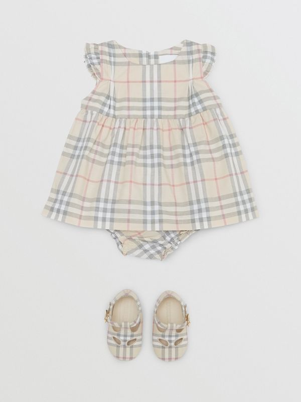 Ruffled Check Cotton Dress with Bloomers in Pale Stone - Children | Burberry - cell image 2