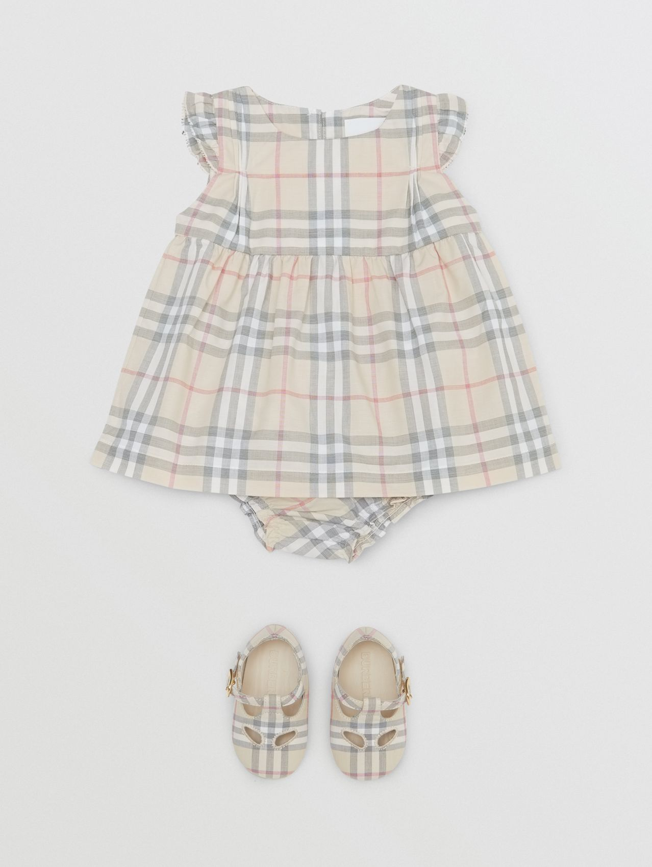 Ruffled Check Cotton Dress with Bloomers (Pale Stone)
