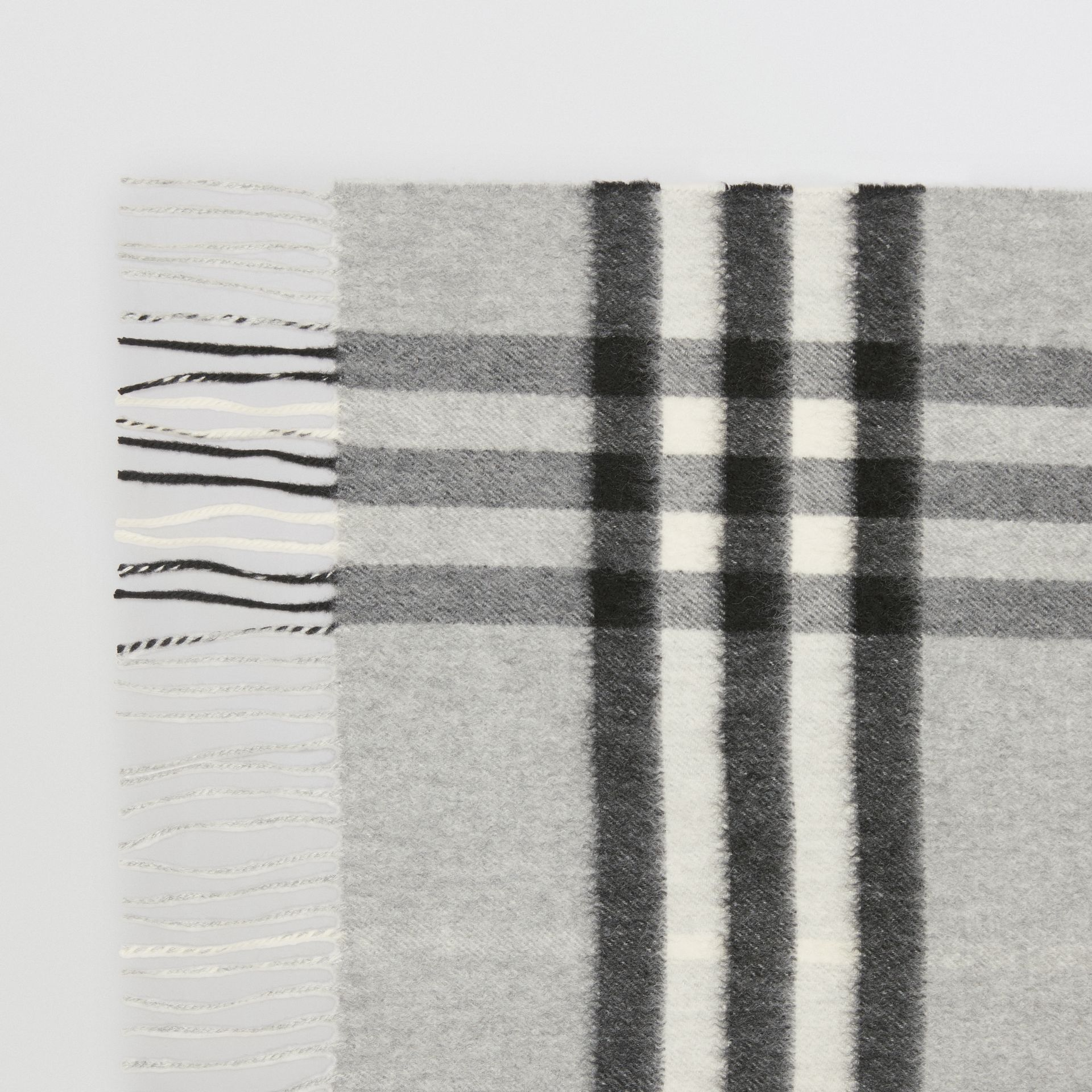The Classic Check Cashmere Scarf in Pale Grey | Burberry United States - gallery image 1