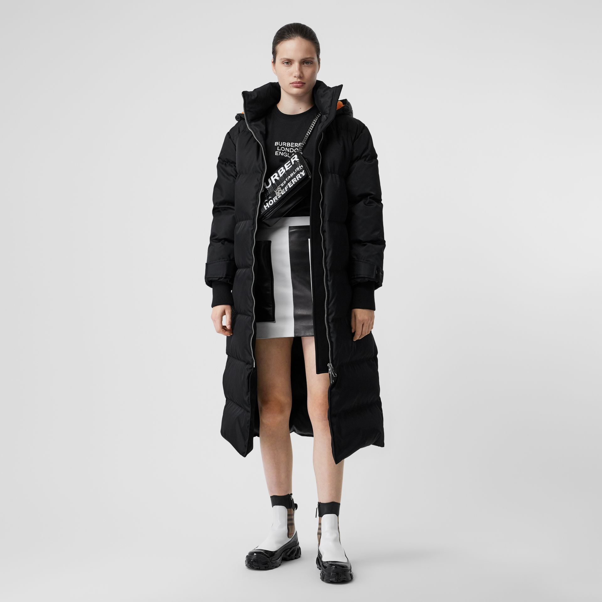 Logo Detail ECONYL® Puffer Coat in Black/orange - Women | Burberry United States - gallery image 0