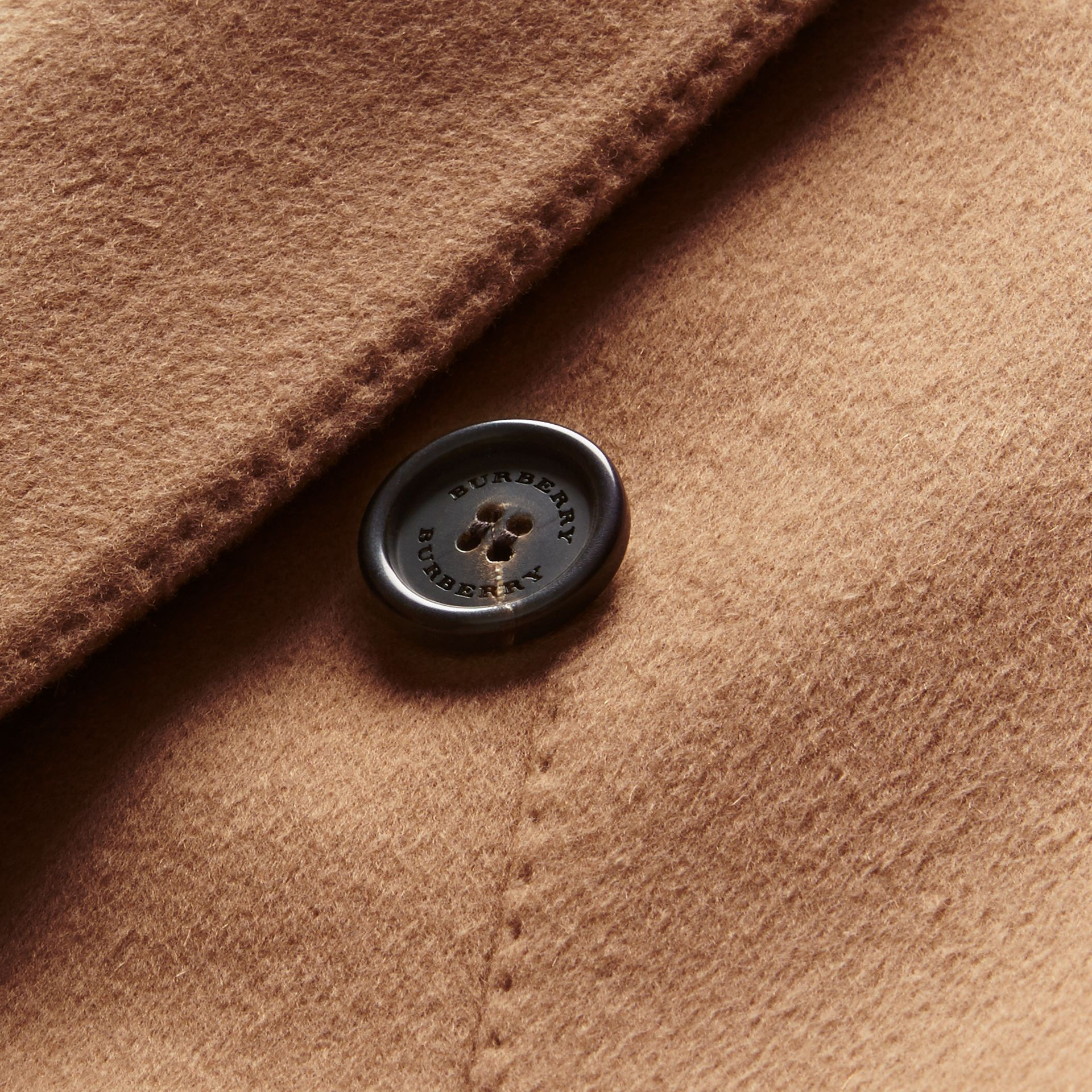 Camel Double-breasted Tailored Wool Cashmere Coat - gallery image 2