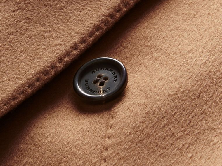 Camel Double-breasted Tailored Wool Cashmere Coat - cell image 1