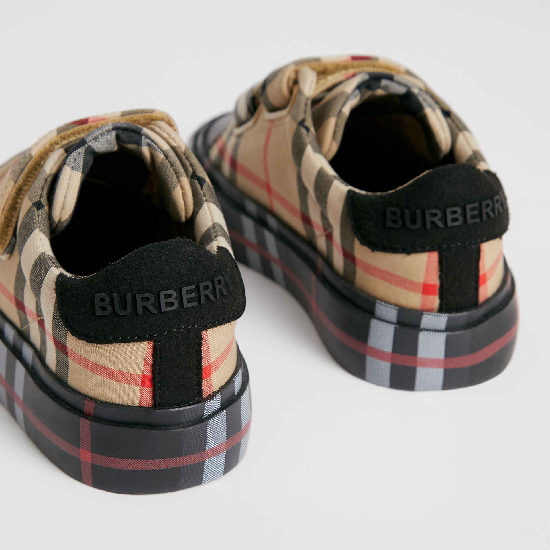 Contrast Check Cotton Sneakers in Archive Beige/black - Children | Burberry - gallery image 1
