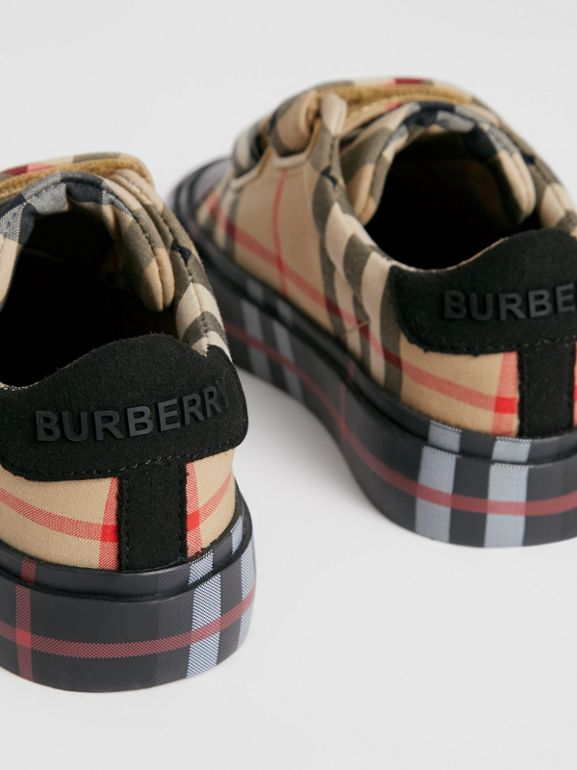 Contrast Check Cotton Sneakers in Archive Beige/black - Children | Burberry - cell image 1