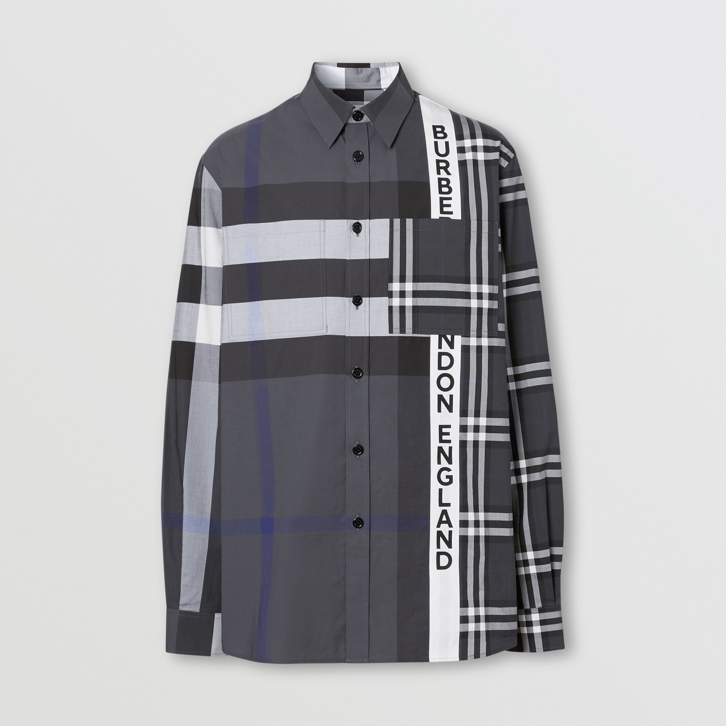 Logo Print Patchwork Check Cotton Oversized Shirt in Dark Pewter - Men | Burberry - 4