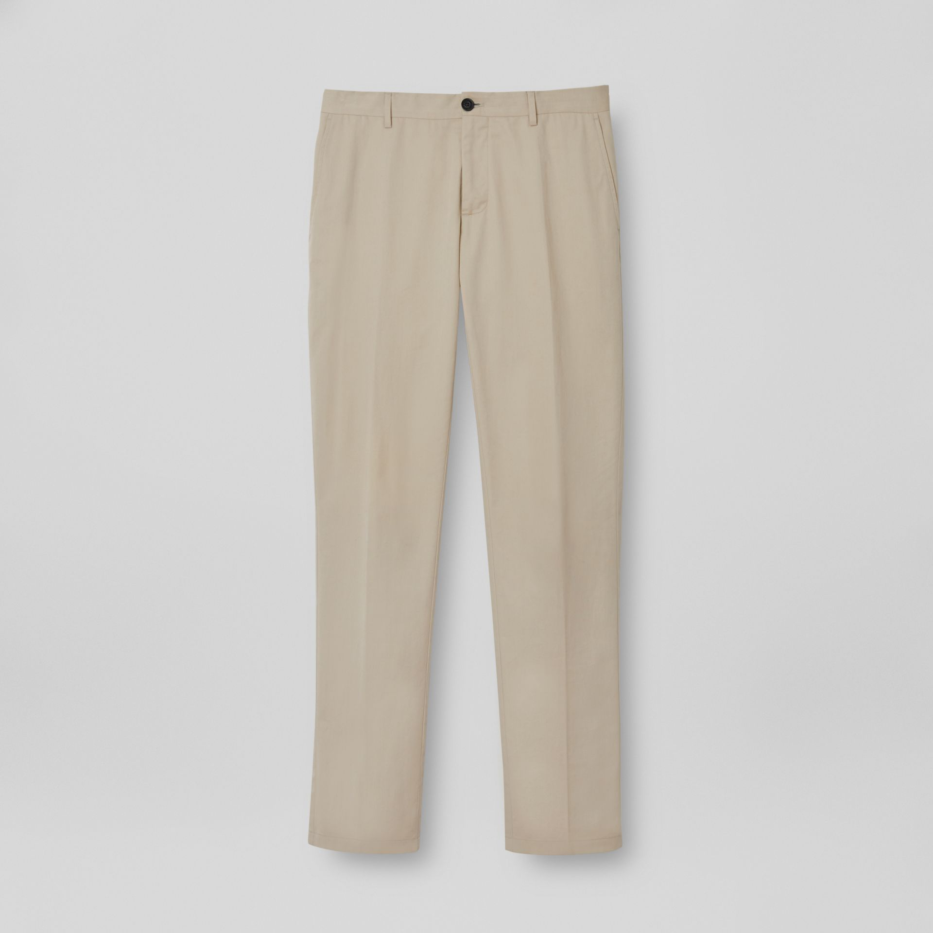 Slim Fit Cotton Blend Twill Chinos in Stone - Men | Burberry - gallery image 3