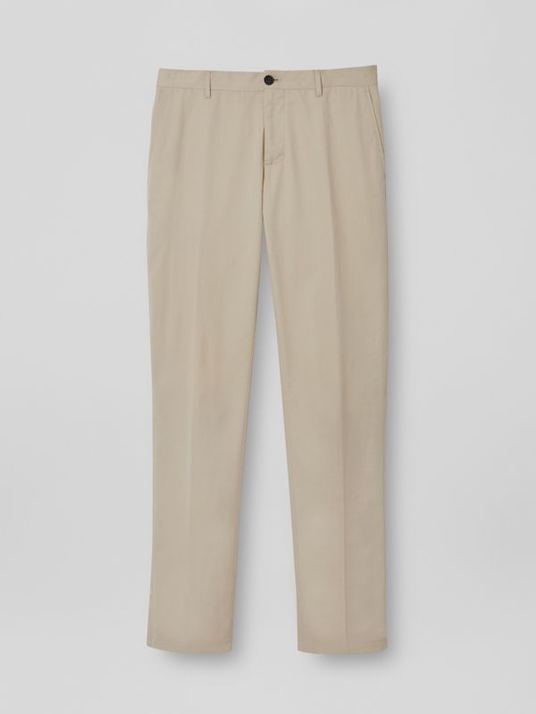 Slim Fit Cotton Blend Twill Chinos in Stone - Men | Burberry - cell image 3