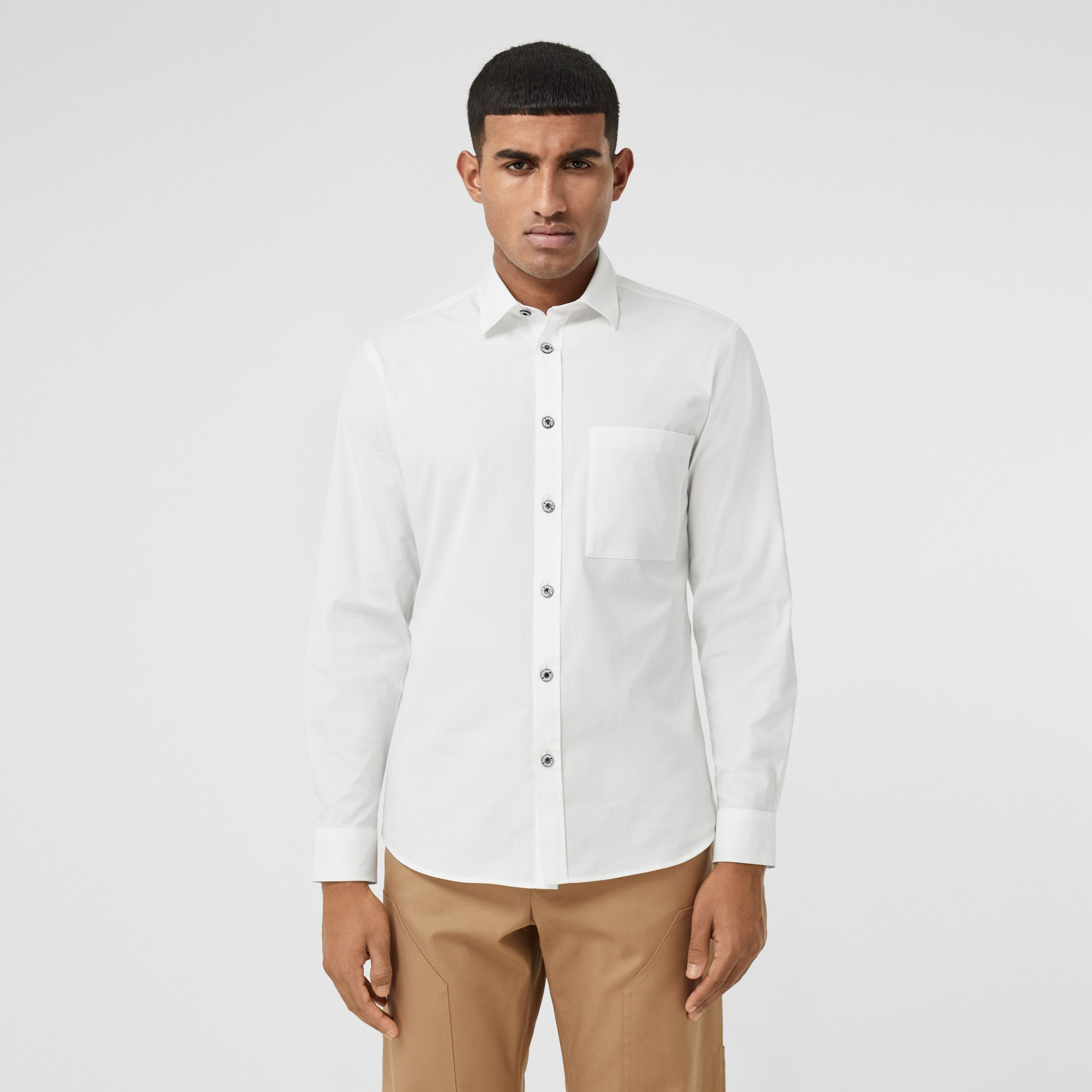 Slim Fit Stretch Cotton Poplin Shirt in White - Men | Burberry - 1