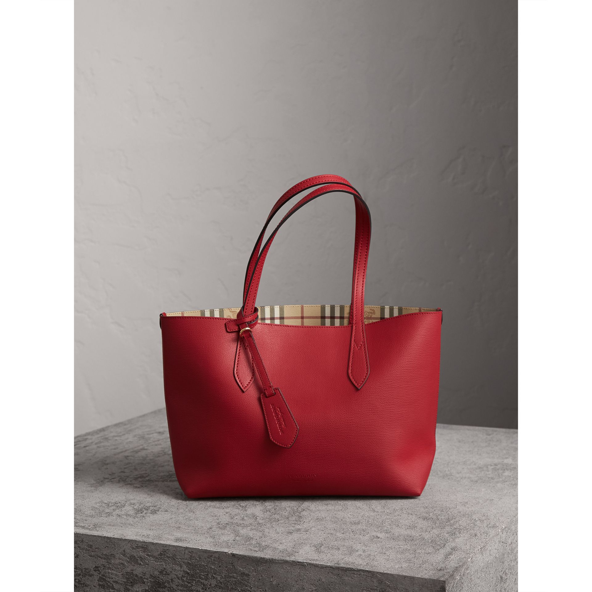 The Small Reversible Tote in Haymarket Check and Leather in Poppy Red - Women | Burberry Australia - gallery image 1