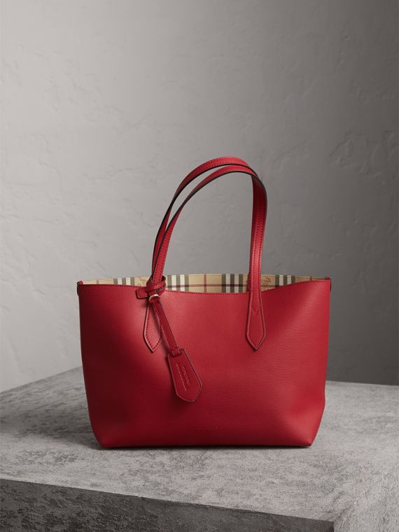 The Small Reversible Tote in Haymarket Check and Leather in Poppy Red