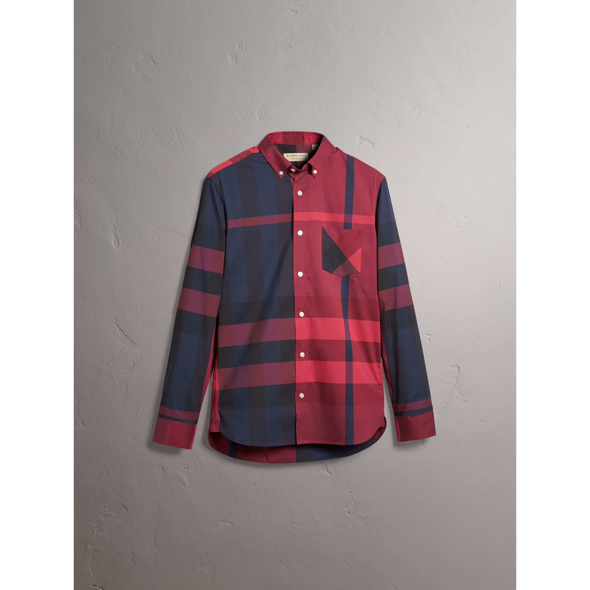 Button-down Collar Check Stretch Cotton Blend Shirt in Bright Red - Men | Burberry - gallery image 3