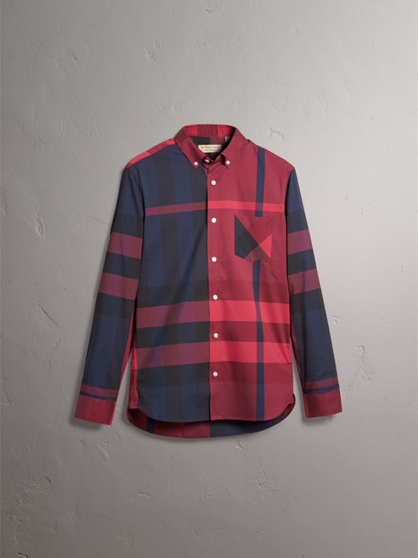 Button-down Collar Check Stretch Cotton Blend Shirt in Bright Red - Men | Burberry - cell image 3