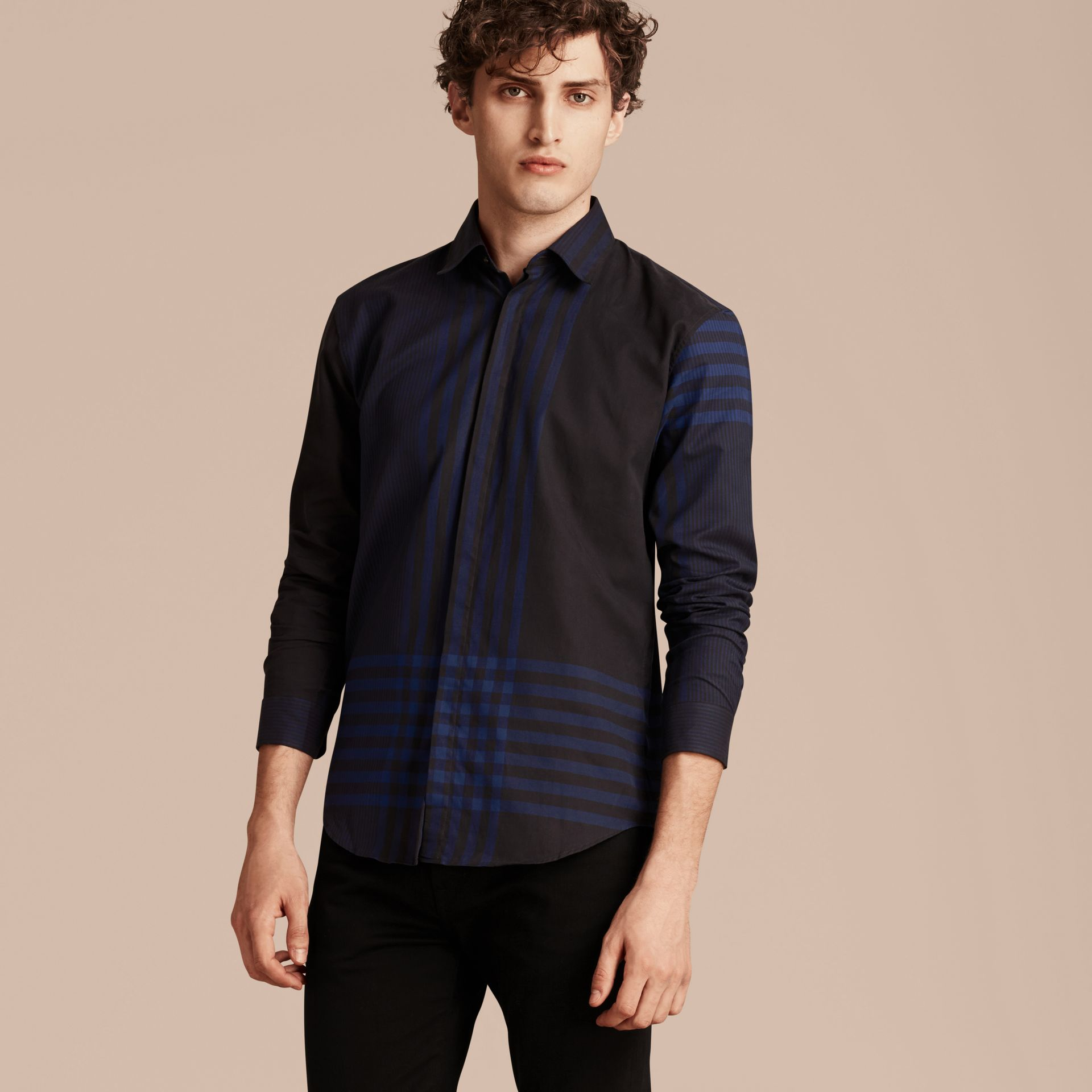 Bright navy Graphic Check Cotton Shirt Bright Navy - gallery image 6