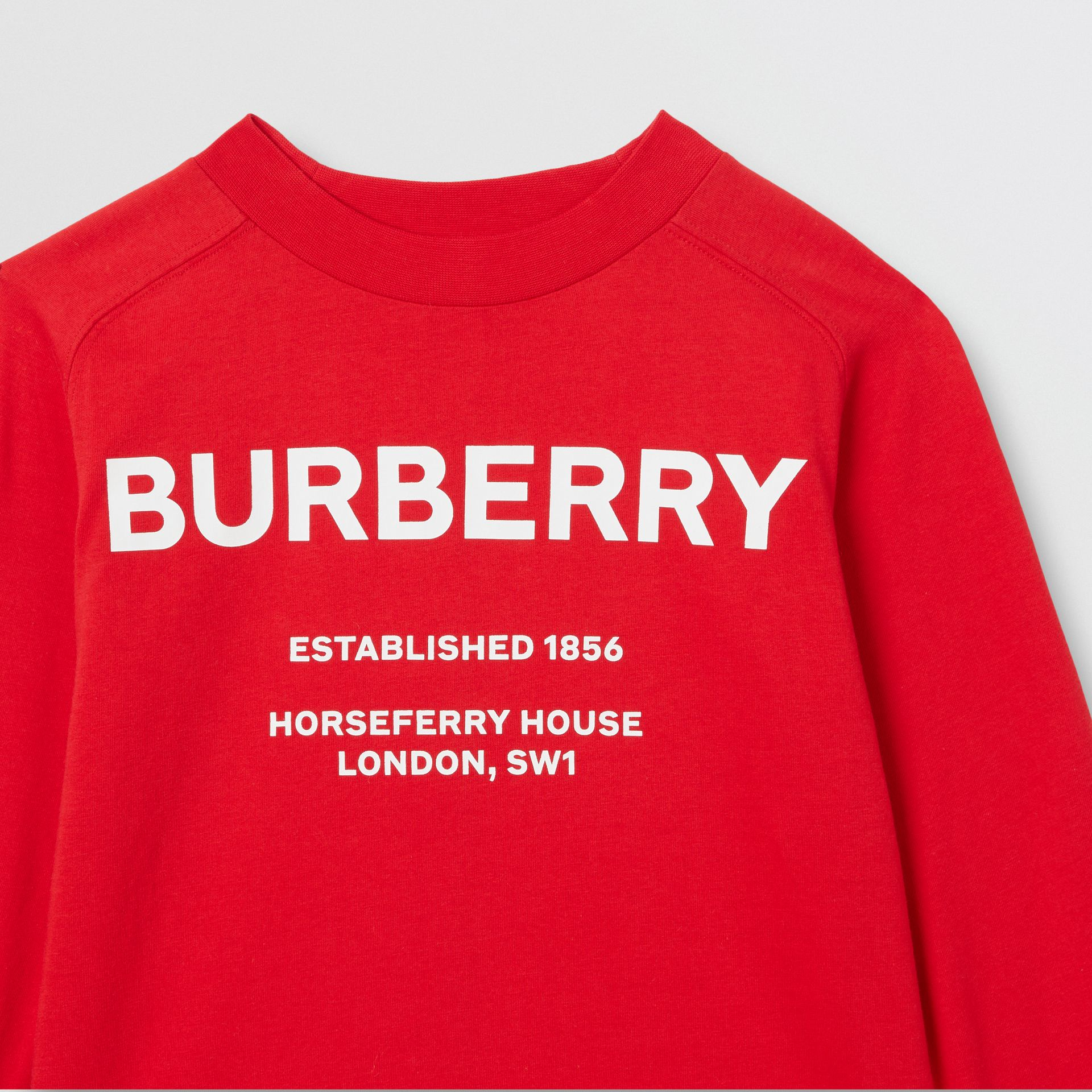 Long-sleeve Horseferry Print Cotton Top in Bright Red | Burberry - gallery image 5