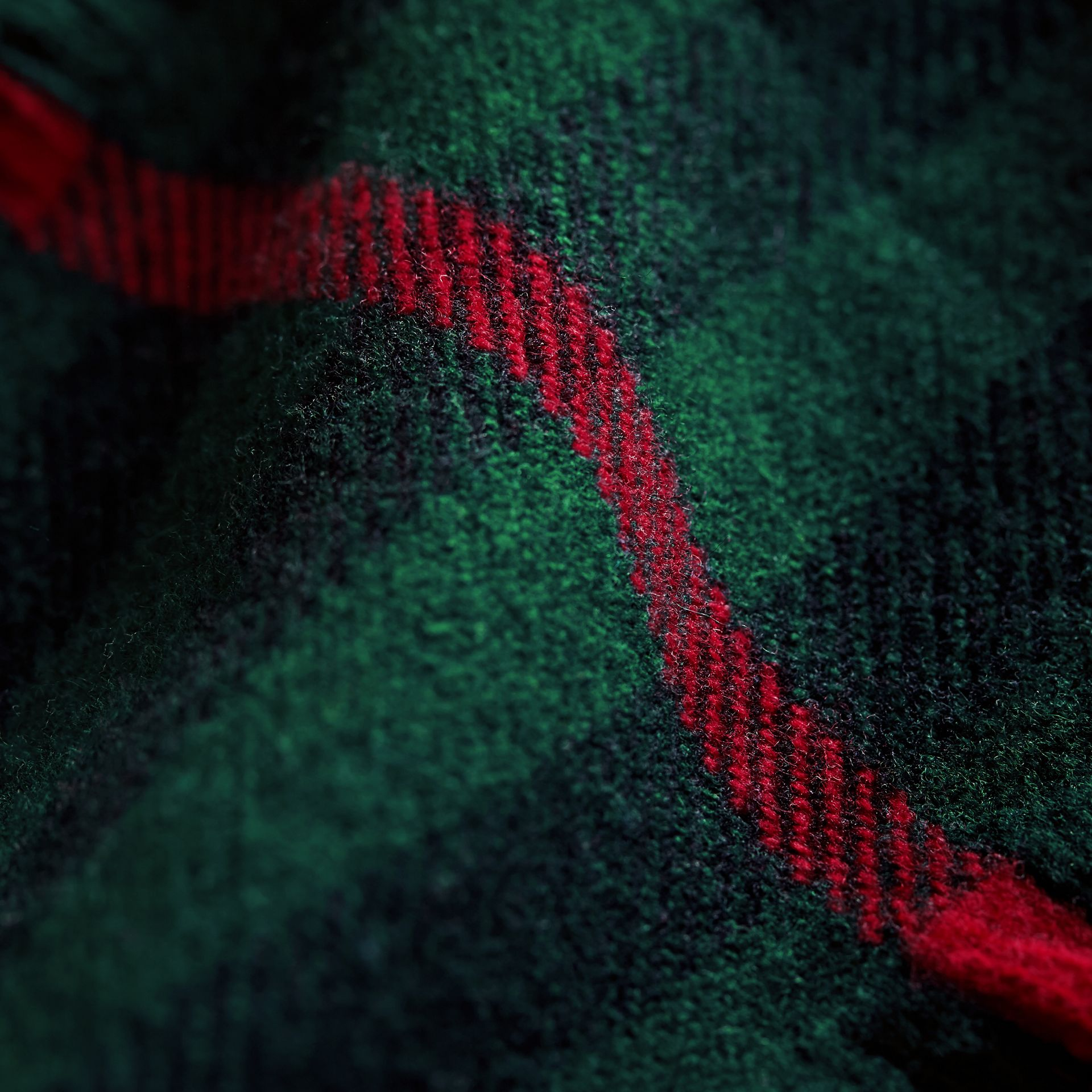 Fringed Check Wool Mini Scarf in Jade Green | Burberry - gallery image 2