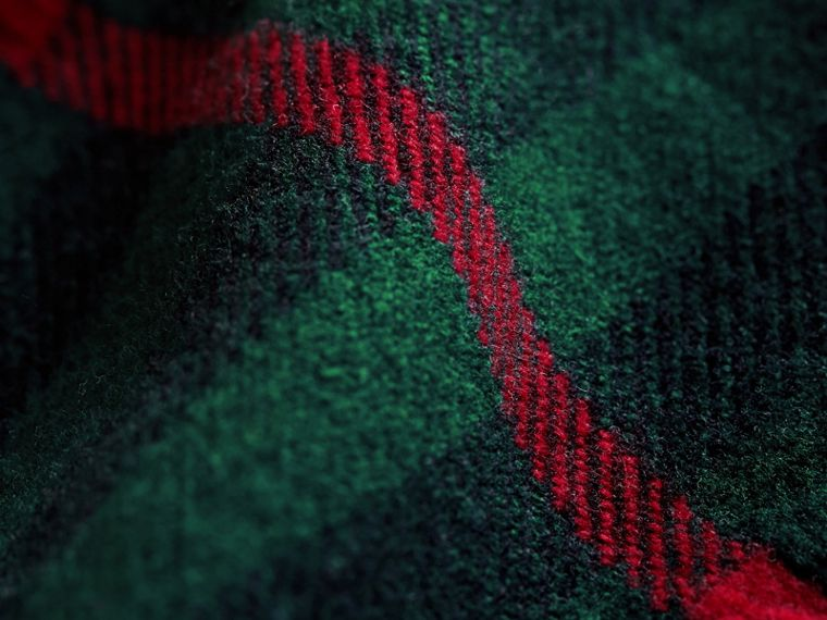 Fringed Check Wool Mini Scarf in Jade Green | Burberry - cell image 1